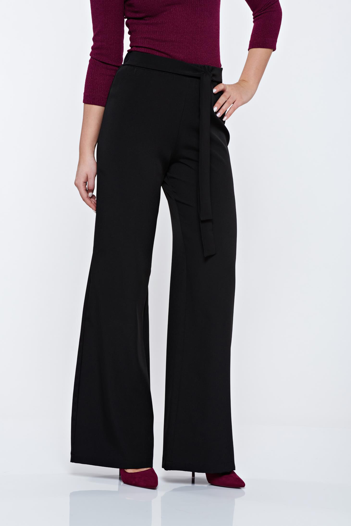 Pantaloni StarShinerS Timeless Romance negri eleganti cu croi larg accesorizati cu cordon