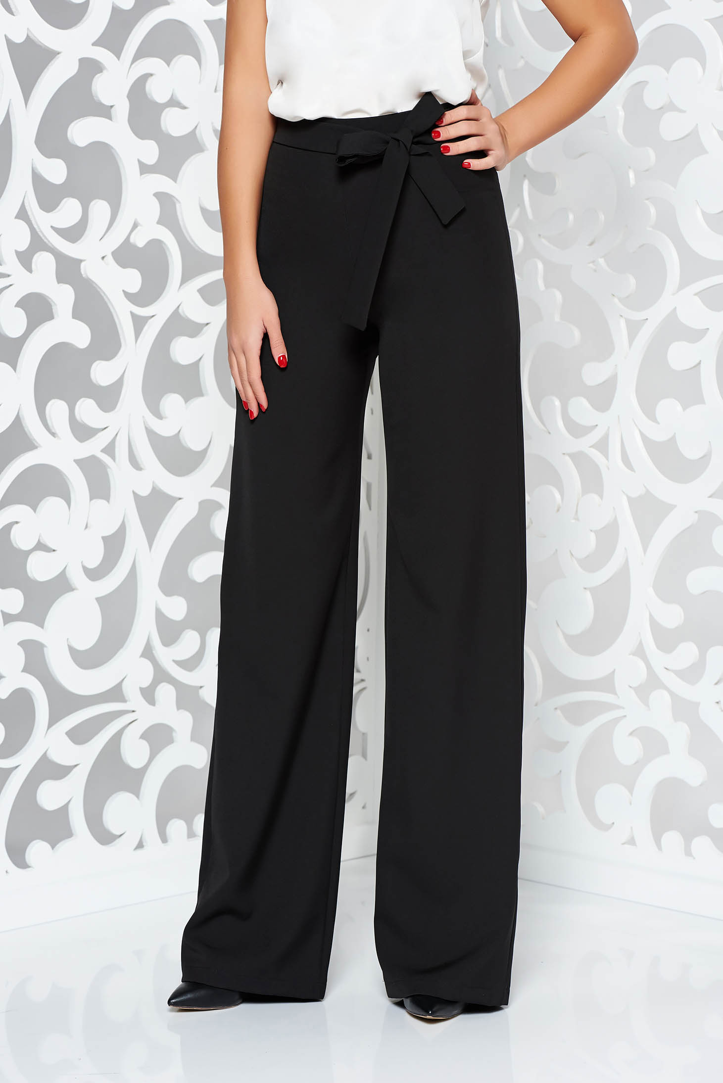 StarShinerS timeless romance black office elegant trousers accessorized with tied waistband