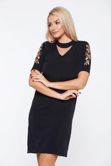StarShinerS black elegant daily embroidered a-line dress