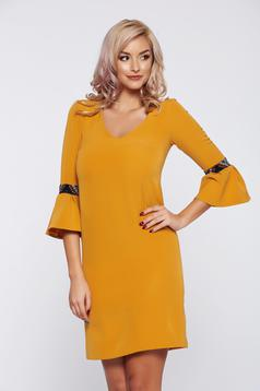 StarShinerS FALL in love yellow bell sleeve daily dress