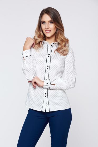 LaDonna white cotton office women`s shirt dots print
