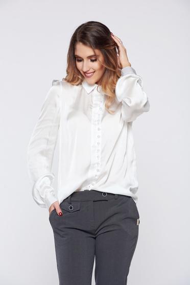 PrettyGirl elegant white women`s shirt with satin fabric texture