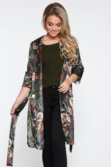PrettyGirl green velvet casual jacket with floral prints