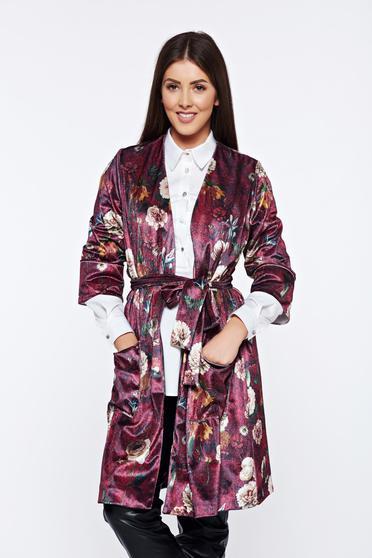 PrettyGirl burgundy velvet casual jacket with floral prints