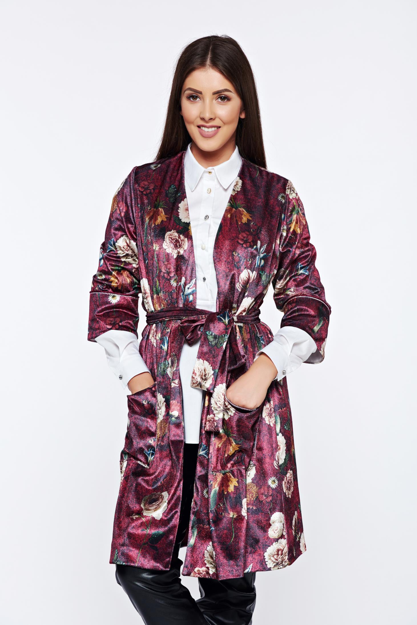 Cardigan PrettyGirl visiniu casual din catifea cu imprimeuri florale