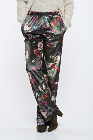 PrettyGirl green casual trousers with medium waist with floral print