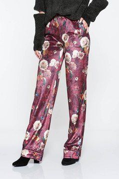 PrettyGirl burgundy casual trousers with medium waist with floral print