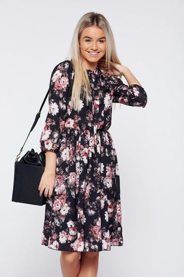 PrettyGirl elegant midi black dress with floral print