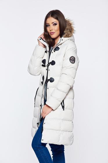 Top Secret white casual jacket with faux fur details with undetachable hood