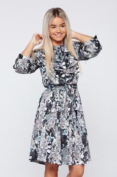Flared PrettyGirl grey daily dress with 3/4 sleeve