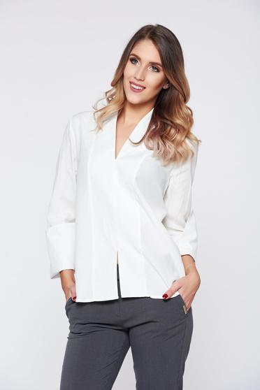 PrettyGirl white office women`s shirt with v-neckline and high collar