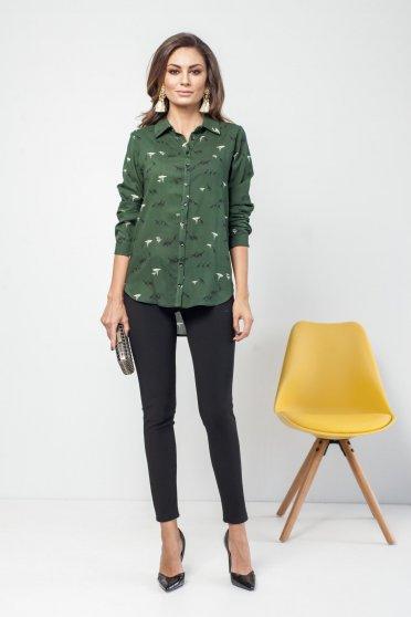 PrettyGirl casual flared green long sleeve women`s shirt