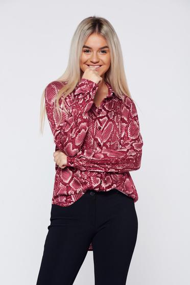 PrettyGirl casual flared burgundy long sleeve women`s shirt