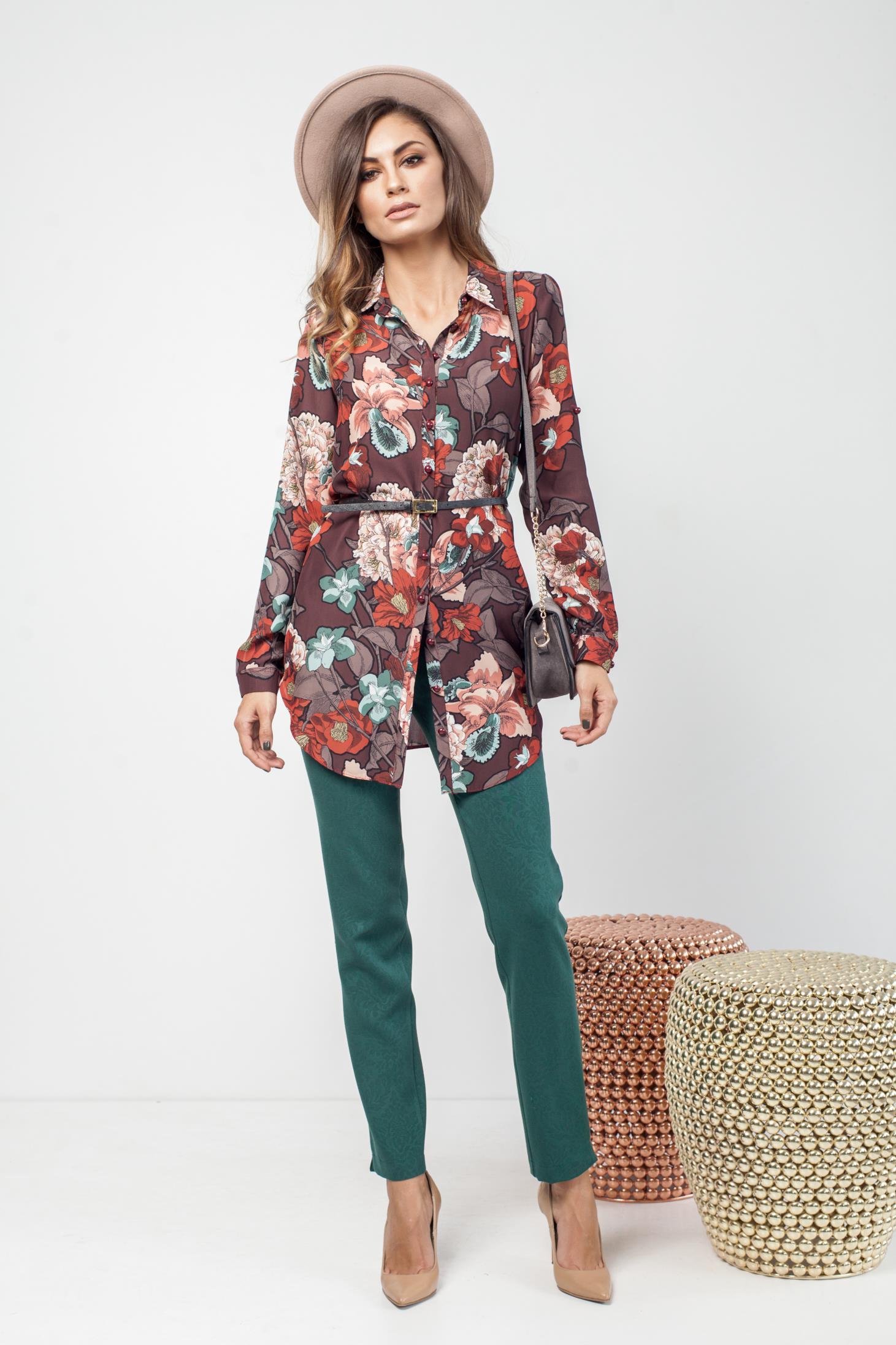 Camasa dama maro-inchis casual cu croi larg cu imprimeu floral