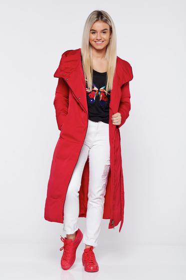 Long red casual jacket accessorized with tied waistband with undetachable hood