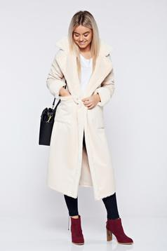 Cream elegant straight coat with pockets