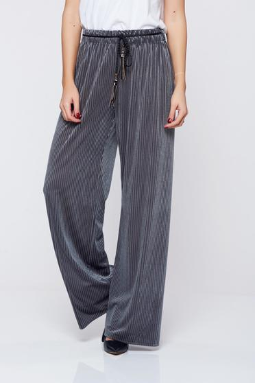 Easy cut grey casual trousers elastic waist