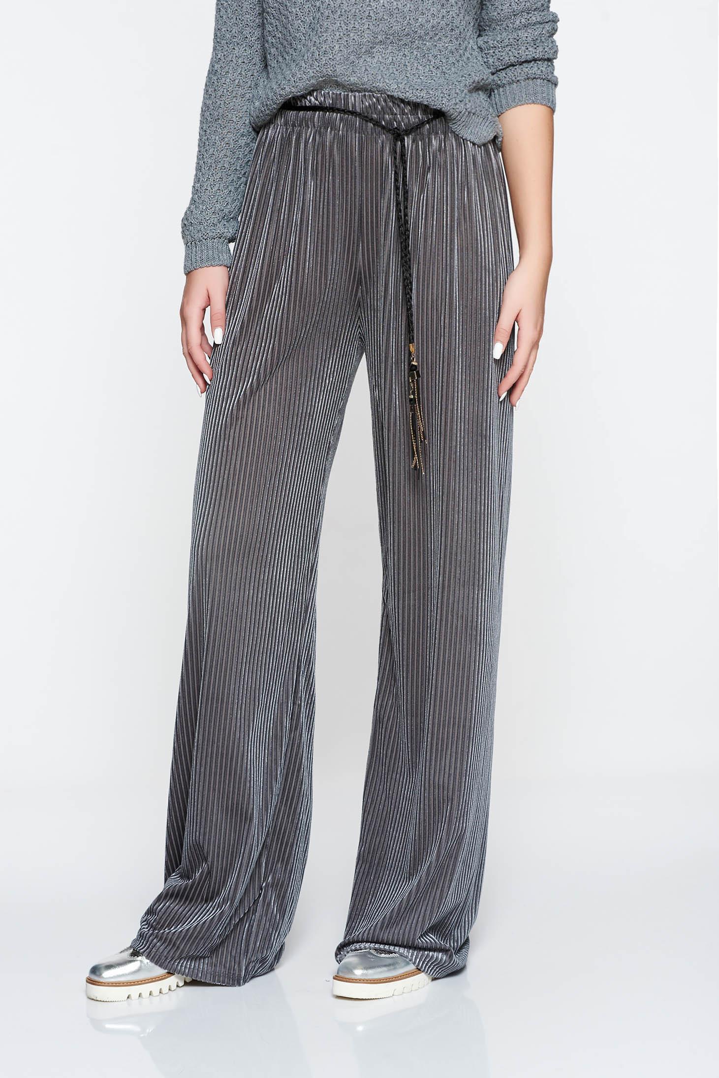 Pantaloni gri casual cu croi larg cu elastic in talie