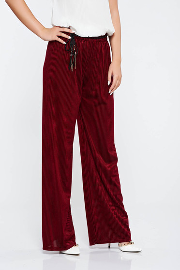 Easy cut burgundy casual trousers elastic waist
