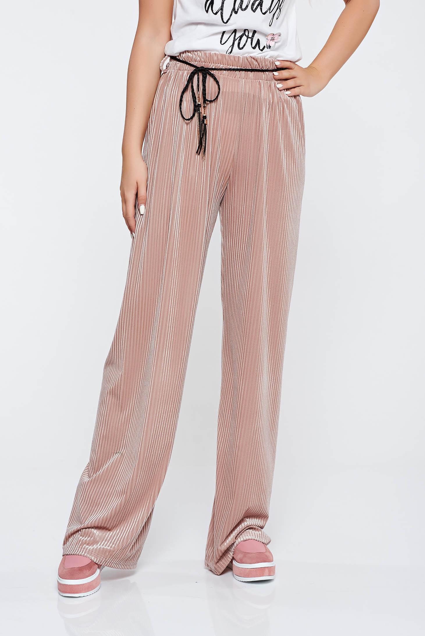 Pantaloni rosa casual cu croi larg cu elastic in talie