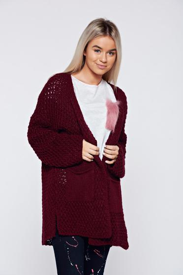 Casual flared knitted burgundy sweater