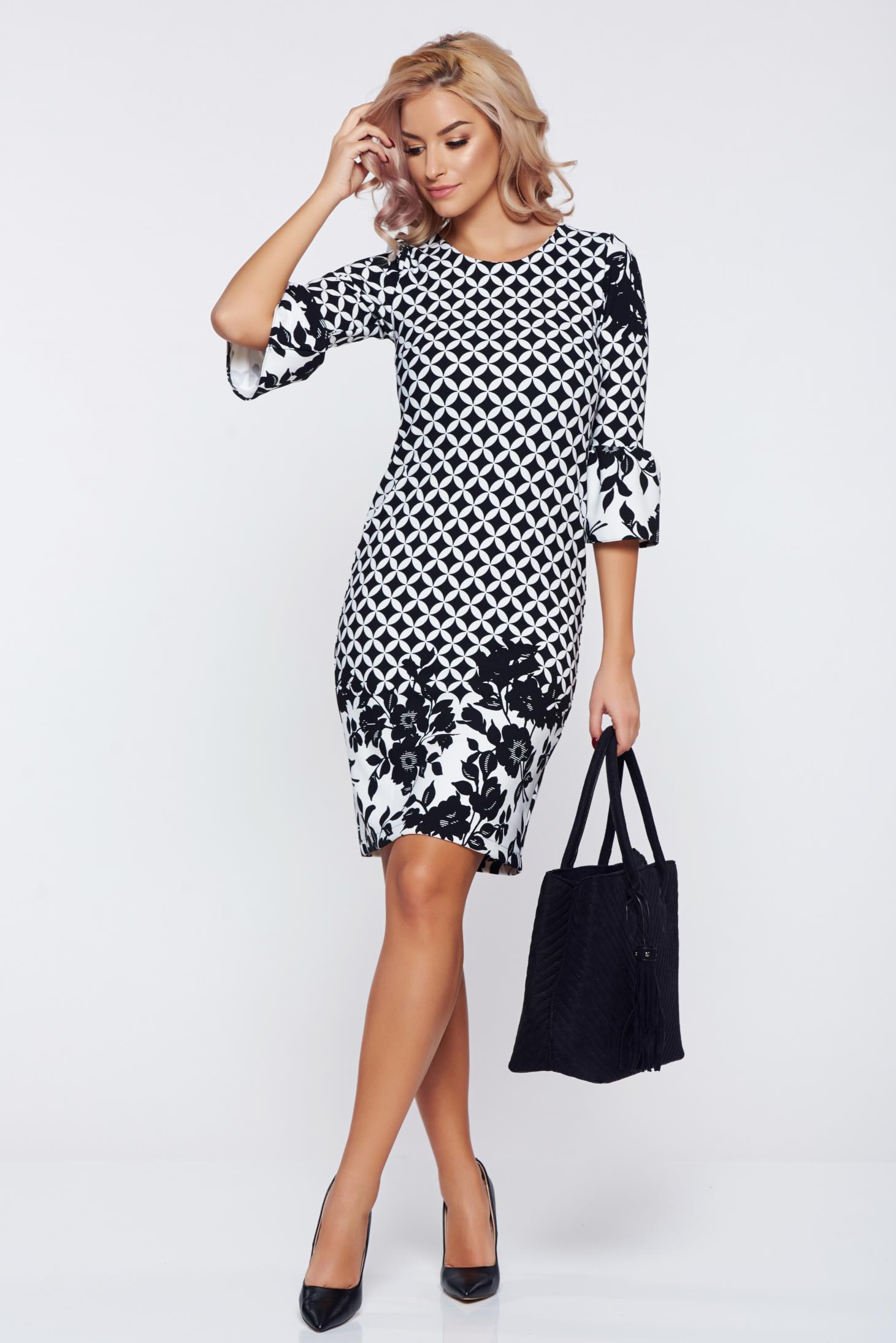Rochie StarShinerS neagra eleganta de zi cu un croi in a accesorizata cu fundite