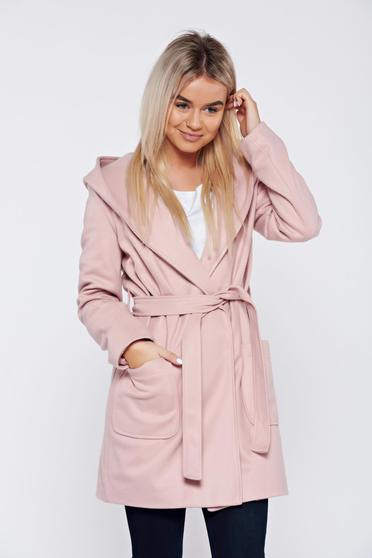 Rosa casual coat accessorized with tied waistband with pockets