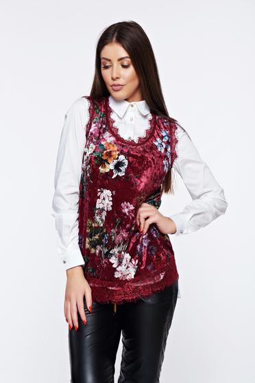 Burgundy casual velvet top shirt lace details