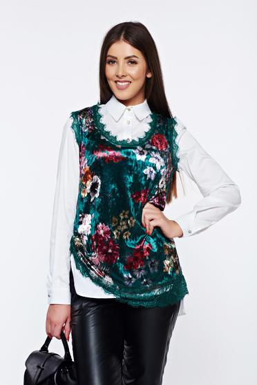 Green casual velvet top shirt lace details