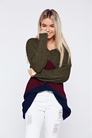 Burgundy casual knitted long sleeve sweater