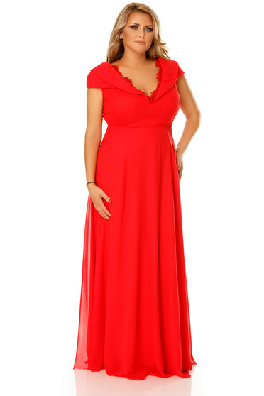 Occasional red voile fabric dress with a cleavage