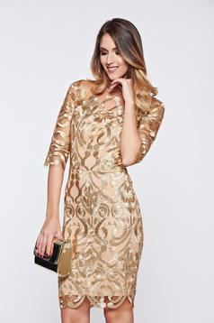 Gold occasional net dress with embroidery details