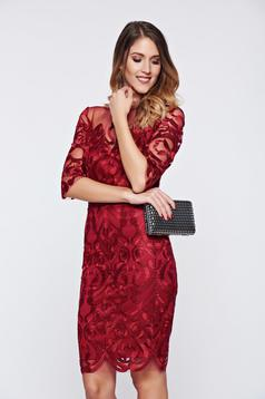 Burgundy occasional net dress embroidery details