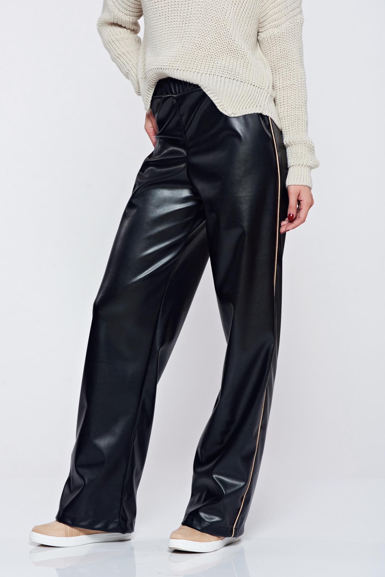 24bd3341d9 Fekete StarShinerS hétköznapi magas derekú műbőr nadrág