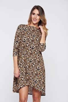 StarShinerS brown daily easy cut dress with animal print
