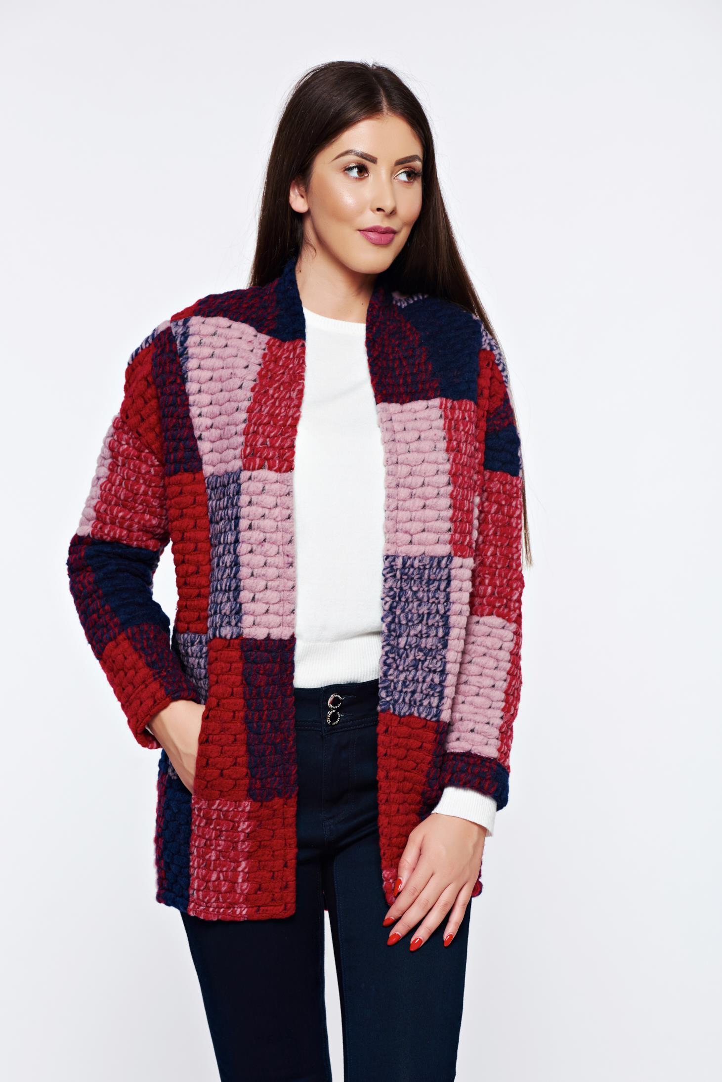 Cardigan Top Secret albastru-inchis casual tricotat din lana