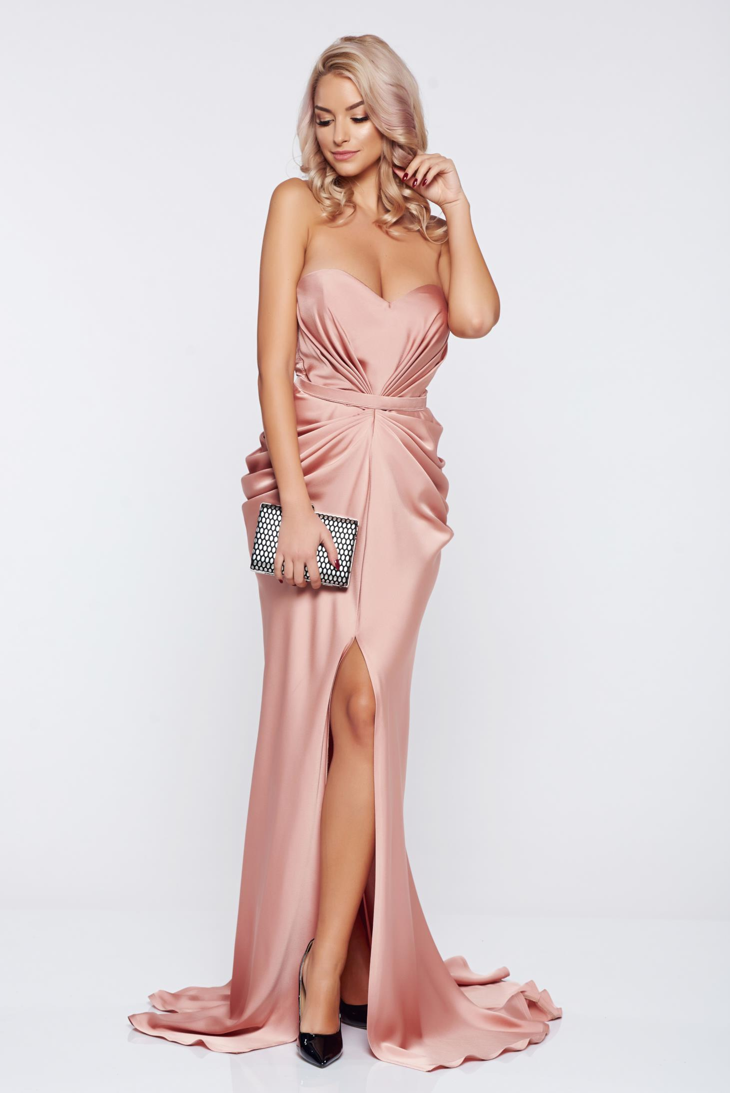 Ana Radu luxurious off shoulder dress from satin fabric texture with push-up bra accessorized with tied waistband peach
