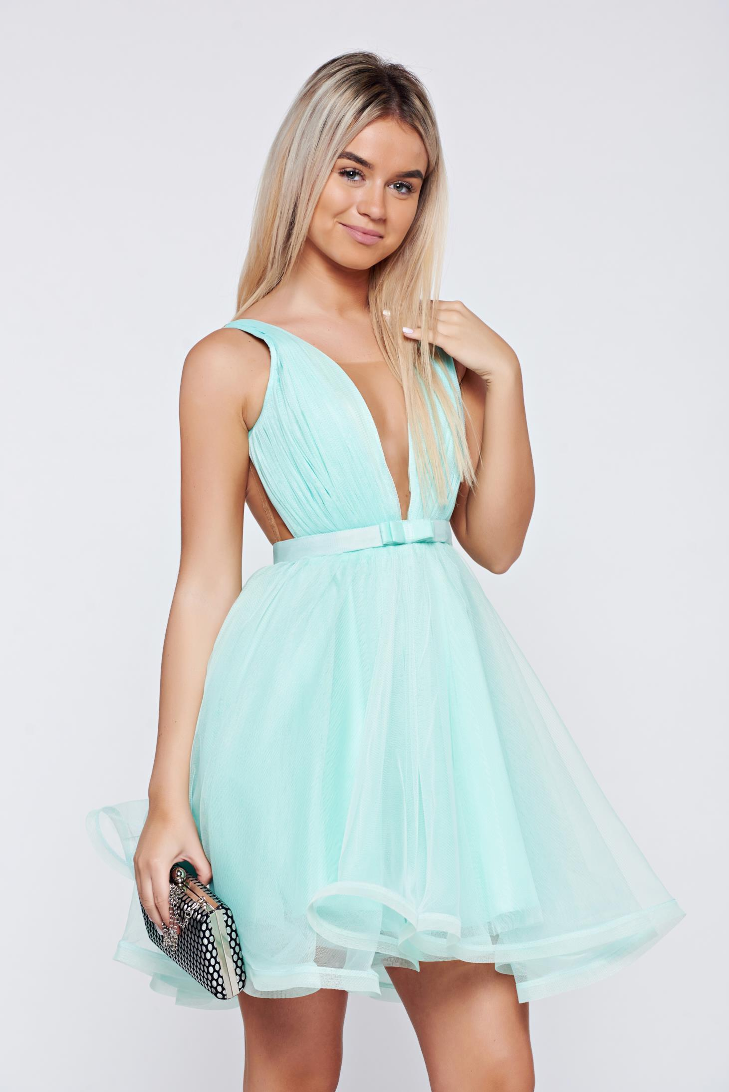 Ana Radu cloche mint luxurious dress with a cleavage from tulle with inside lining accessorized with tied waistband