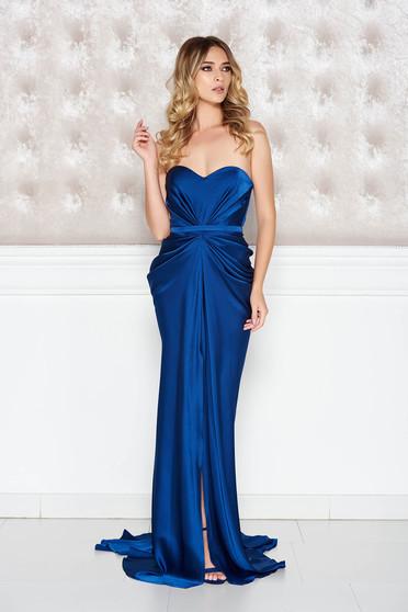 Ana Radu asymmetrical blue dress with push-up bra from wrinkled fabric