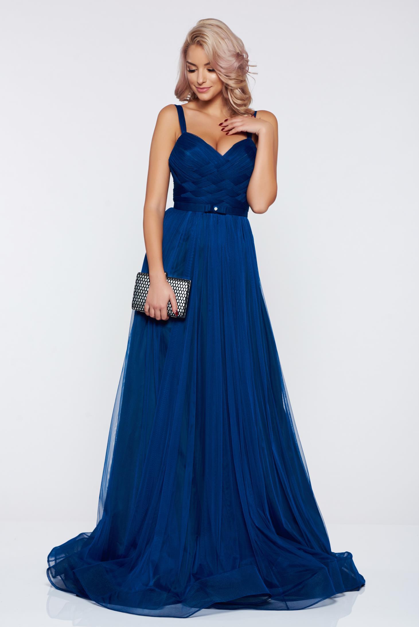 Rochie Ana Radu albastra de lux tip corset din tul captusita pe interior