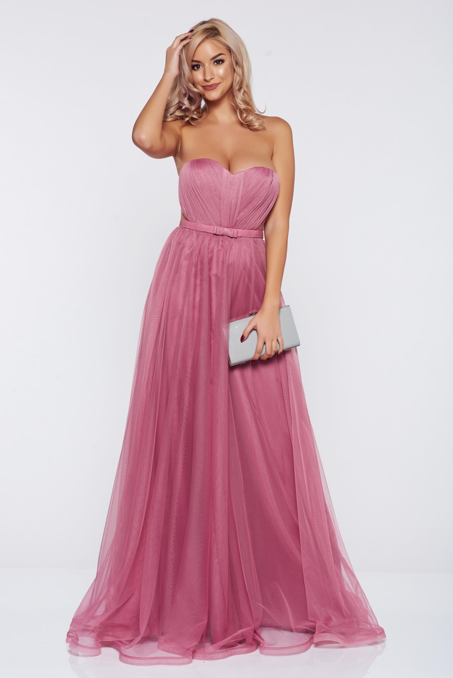 e45795799b Világos rózsaszín Ana Radu alkalmi ruha tűll szivacsos mellrész