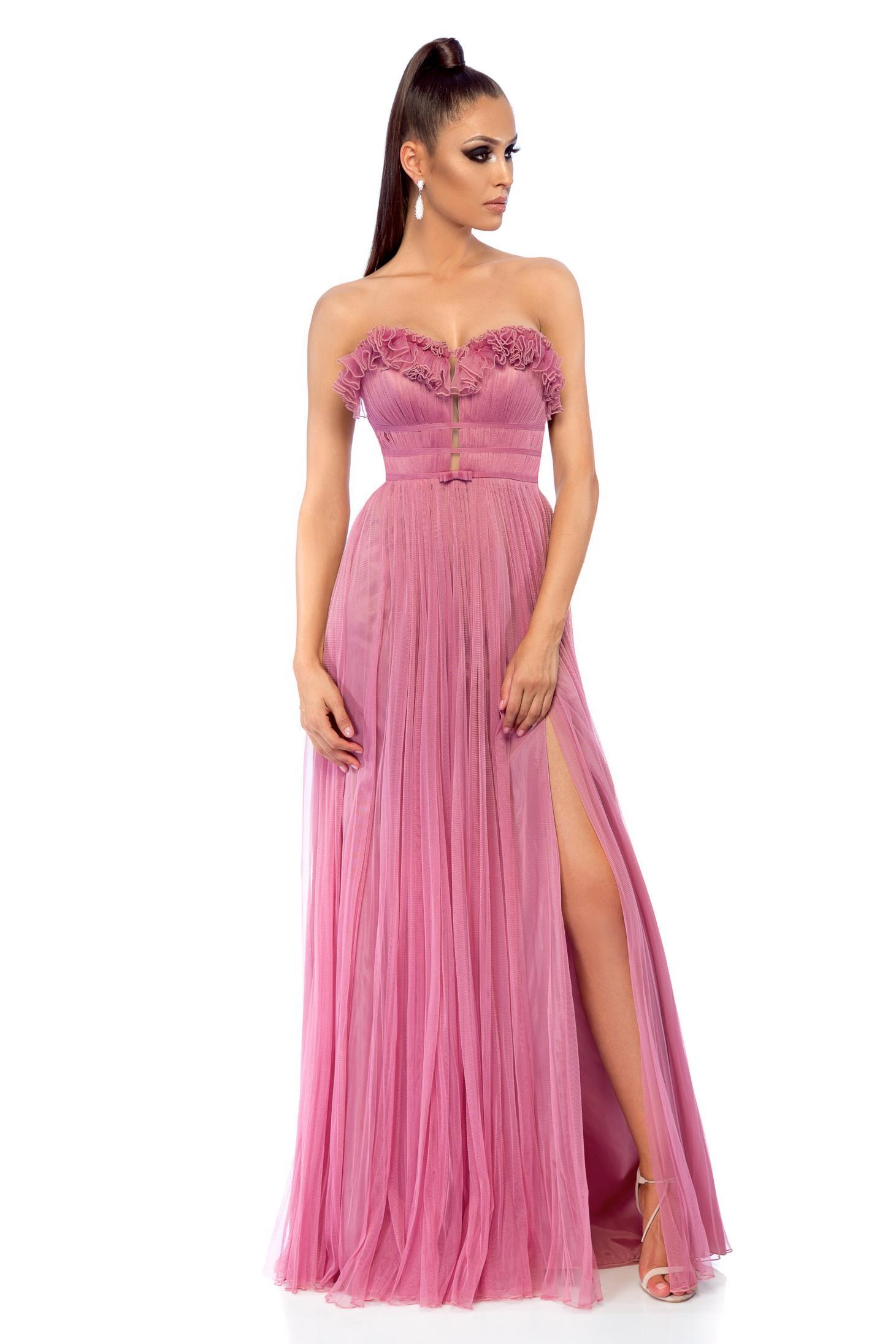 f2cf830976ab Rózsaszínű Ana Radu hosszú alkalmi ruha szivacsos mellrésszel