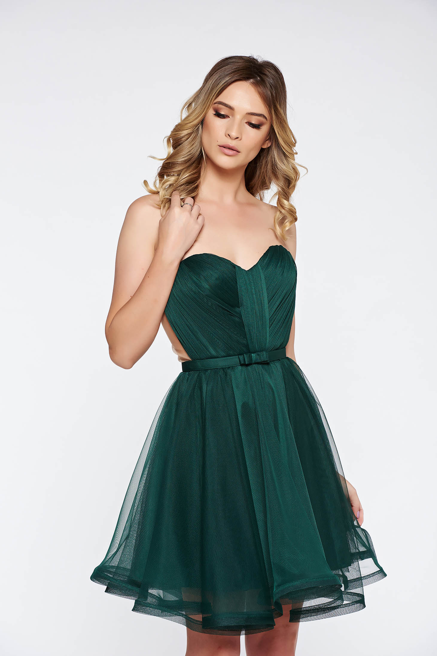Rochie Ana Radu verde de lux tip corset din tul cu bust buretat