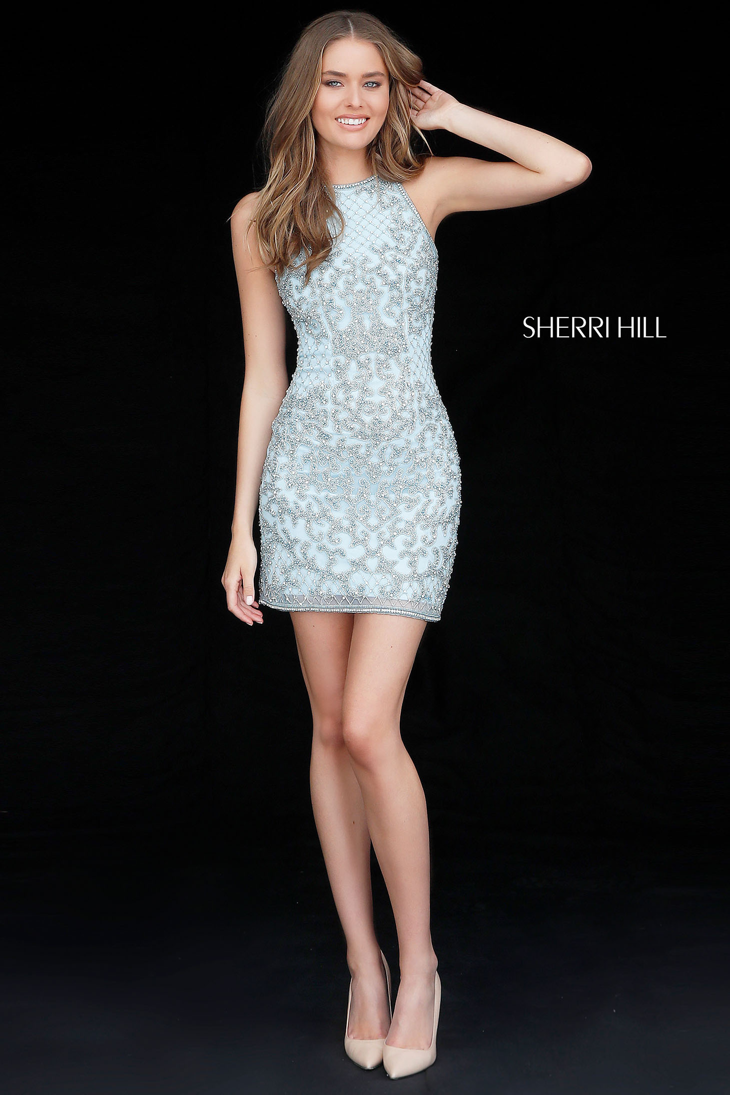 Rochie Sherri Hill 51501 light blue