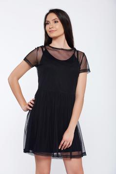 Top Secret black casual flared tulle dress