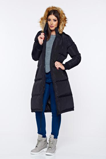 Top Secret black casual jacket with inside lining with faux fur details