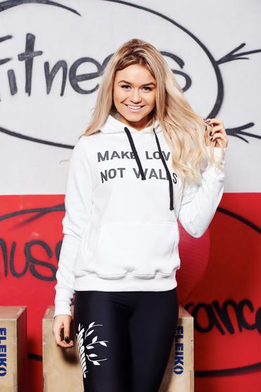Top Secret white casual sporty cotton hoodie