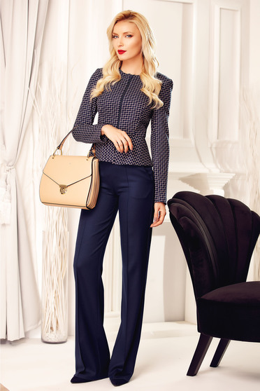 Fofy office flared high waisted darkblue trousers