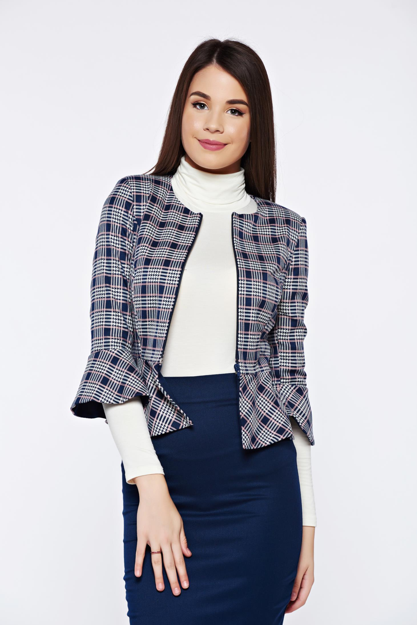 Fofy darkblue office elegant jacket with chequers