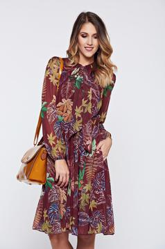 Fofy brown dress office elegant voile fabric with floral print
